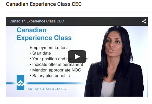 Canadian Experience Class CEC Video